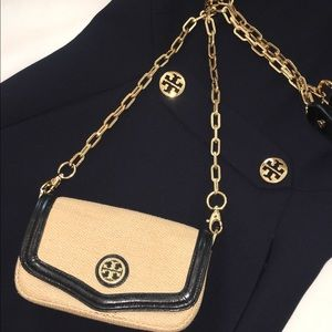Tory Burch Straw Bag Navy Trim Removable Chain